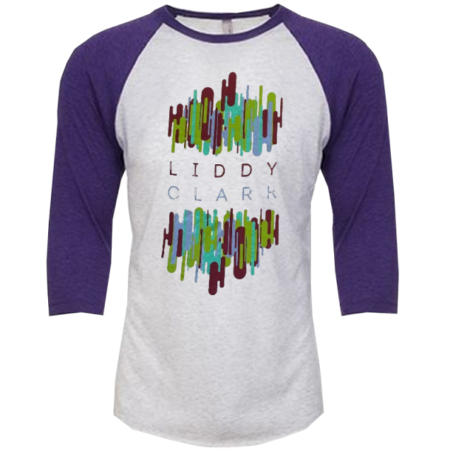 Liddy Clark Heather White and Purple Raglan